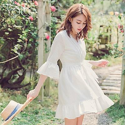 東京著衣-yoco純白氣質交叉V領荷葉領袖綁帶洋裝-S.M.L(共一色)