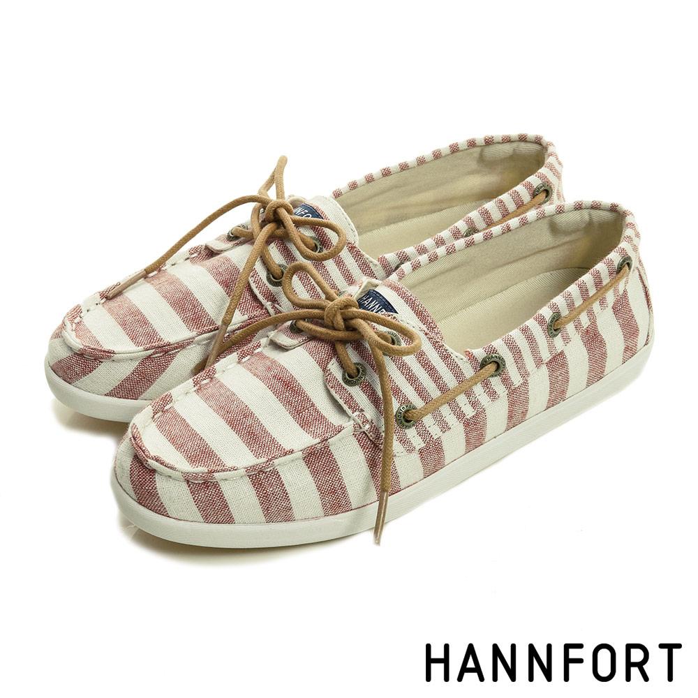 HANNFORT CALIFORNIA條紋帆布氣墊帆船鞋-女-彩霞紅8H