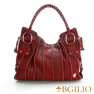 義大利BGilio-義大利羊皮立體線條魅力肩背包