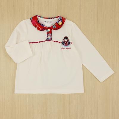 愛的世界 俄羅斯印花娃娃領長袖上衣/2~4歲