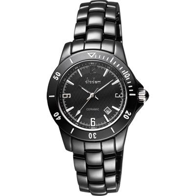 Diadem 黛亞登 菱格紋雅緻陶瓷腕錶-黑/35mm