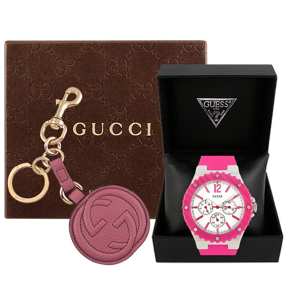 GUCCI 紫羅蘭色雙G圓形真皮鑰匙圈 GUESS 桃紅色三眼時尚運動腕錶