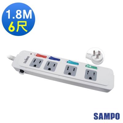 SAMPO 聲寶4切4座3孔6呎(1.8米)延長線 EL-U44R6TA