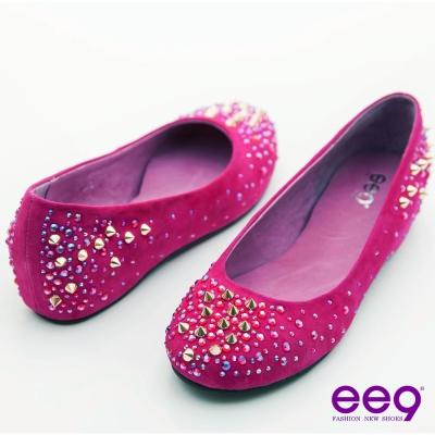 ee9 璀璨星光~精緻水鑽亮眼鉚釘羊麂皮娃娃鞋~焦點桃紅
