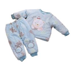 圍巾熊厚鋪棉極暖寶寶禦寒套裝 藍 k60050