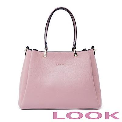 LOOK-真皮水滴手提包-俏麗女孩Queena系列-甜漾粉