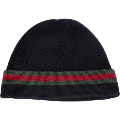 GUCCI 經典綠紅綠織紋反褶毛線帽(黑色/ 70%LANA)