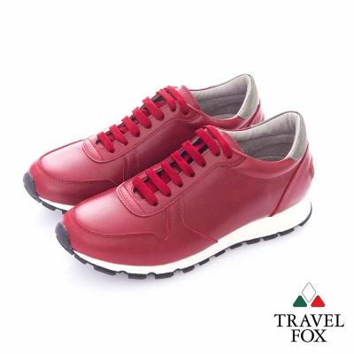 Travel Fox (男)- 光采 全牛皮都會慢跑運動鞋- 紅