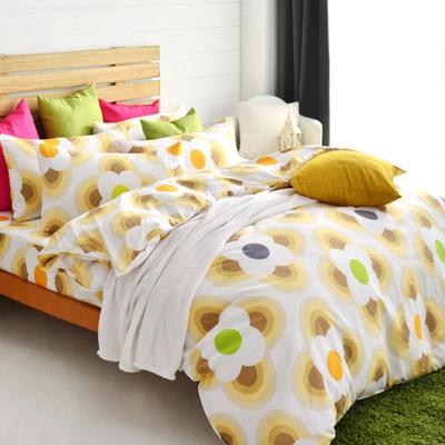 美夢元素 天鵝絨雙人四件式 全鋪棉兩用被床包組-風鈴花海
