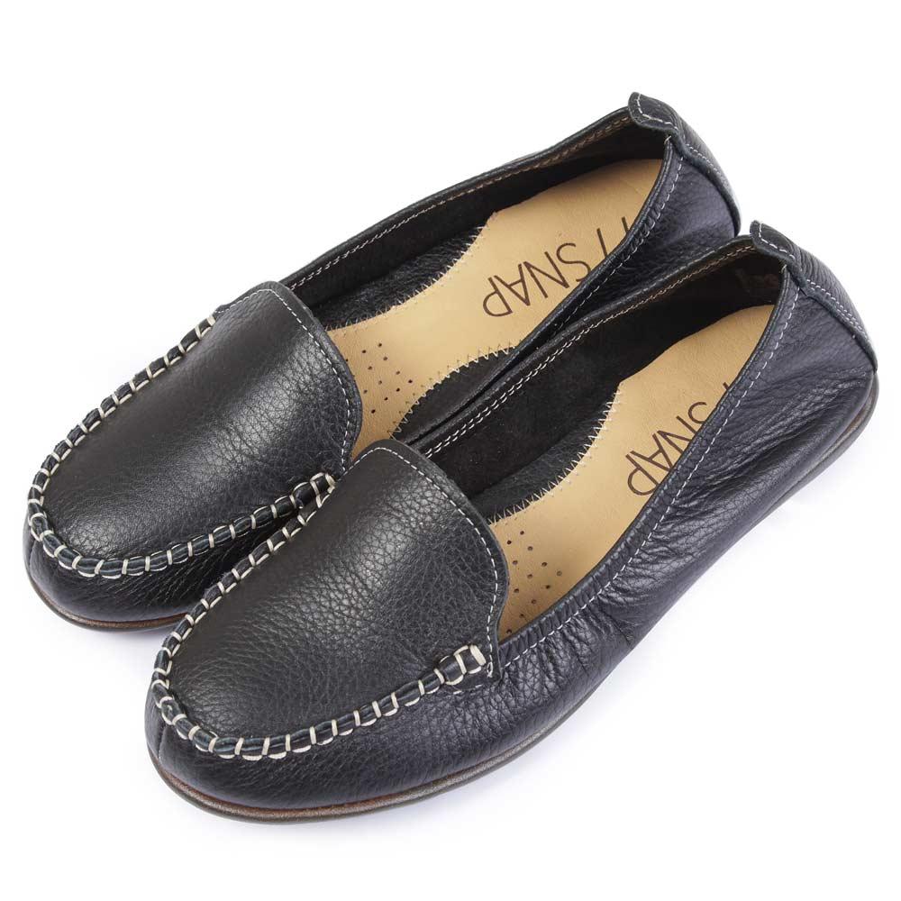 TTSNAP豆豆鞋-台灣製造 全真皮素面小牛皮經典款 黑