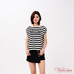 Victoria 肩線抽繩短設計短袖T-女-黑色