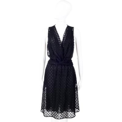 LOVE MOSCHINO 黑色深V領菱格蕾絲洋裝