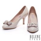 高跟鞋 HELENE SPARK 經典珍珠蝴蝶結羊皮高跟鞋-米