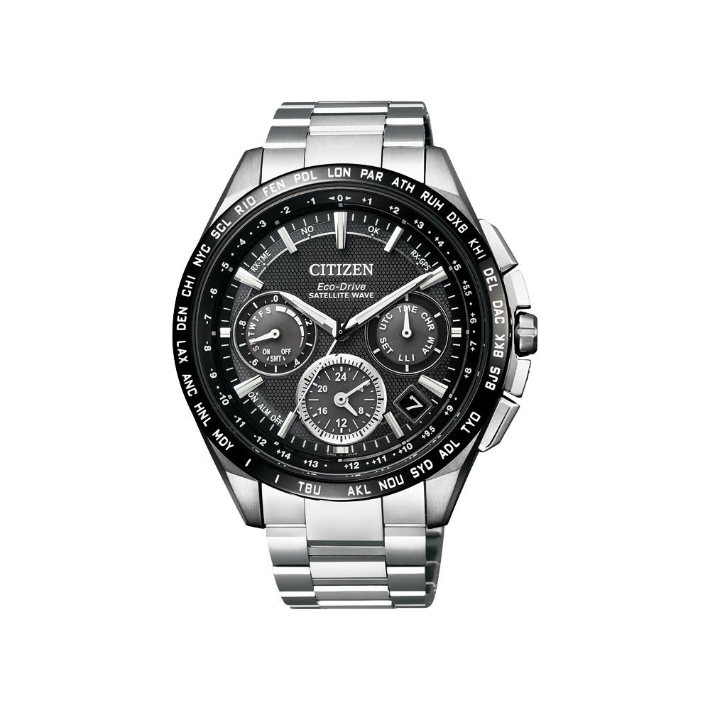 CITIZEN Eco-Drive衛星對時鈦金屬腕錶(CC9015-54E)-黑/44mm