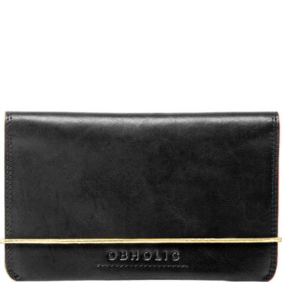OBHOLIC環保牛皮革-雙色油邊-護照套-黑