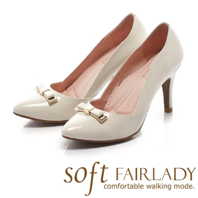 Fair Lady Soft芯太軟 立體典雅蝴蝶結尖頭高跟鞋 白