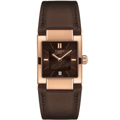TISSOT T02個性女錶(T0903103738100)-咖啡x玫瑰金框/23mm
