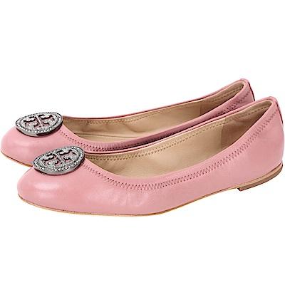 TORY BURCH Liana 鑽飾盾牌納帕皮革娃娃鞋(粉色)