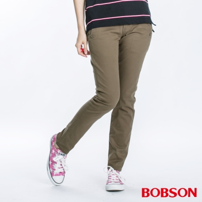 BOBSON 俐落小直筒色褲 (墨綠8053-41)