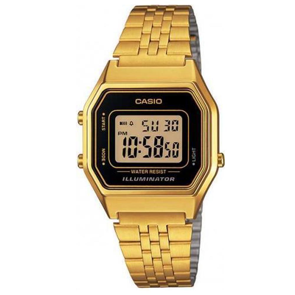 CASIO 經典復古數字型電子錶(LA680WGA-1)-金色x黑框/28.6mm