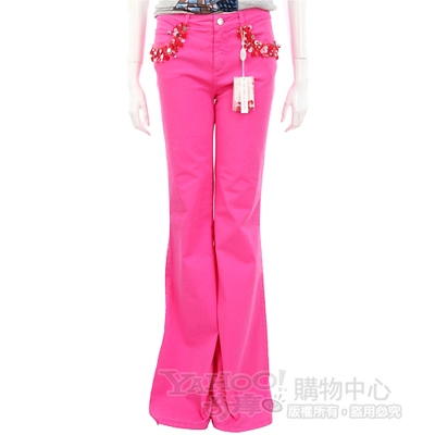 BLUGIRL 桃紅色亮片點綴喇叭長褲