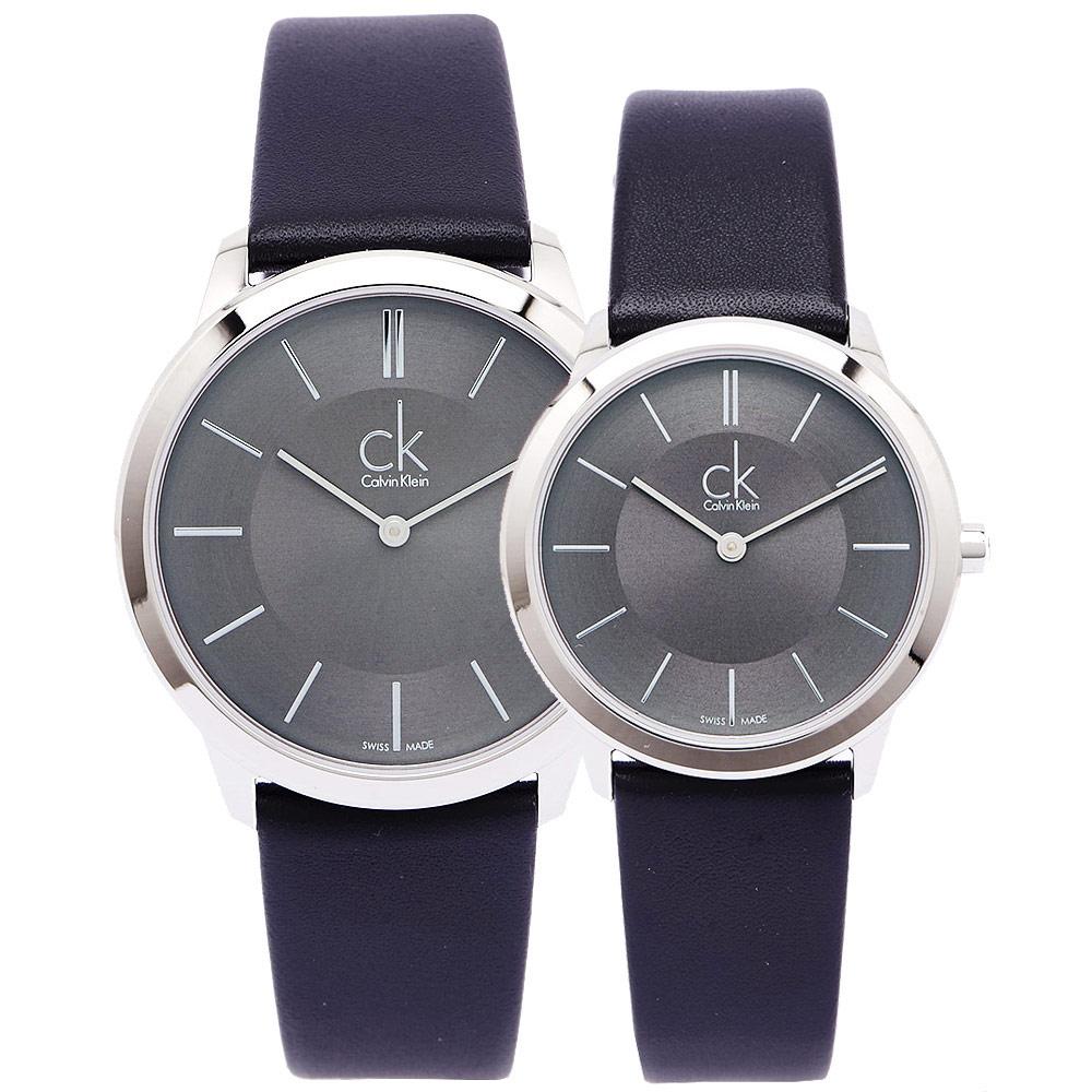 CK 雅痞極簡對錶( K3M211C4.K3M221C4)-灰黑面X黑/40.34mm