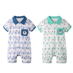baby童衣 嬰兒連身衣  短袖前開扣爬服 音樂家款60144