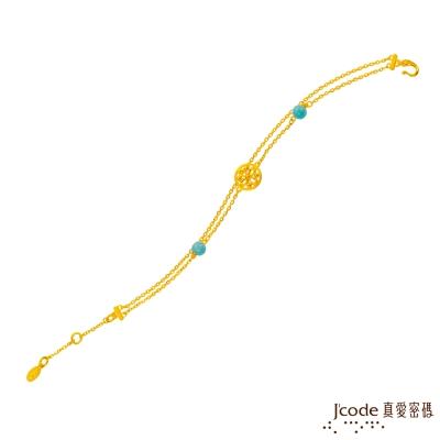 J code真愛密碼金飾 花姿多彩黃金手鍊