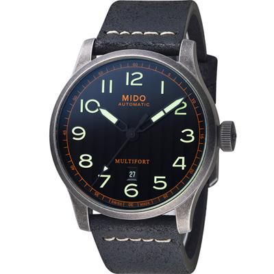 MIDO 美度錶 Multifort先鋒系列波紋復刻機械腕錶-黑/44mm