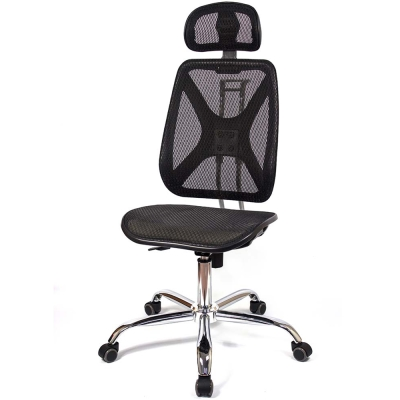 aaronation - 機能椅背辦公網椅(DW-105H無手有枕鐵腳電氣棒PU)