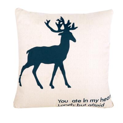 童趣插畫風 舒適兩用棉被抱枕/靠枕/午睡枕 (綠麋鹿)