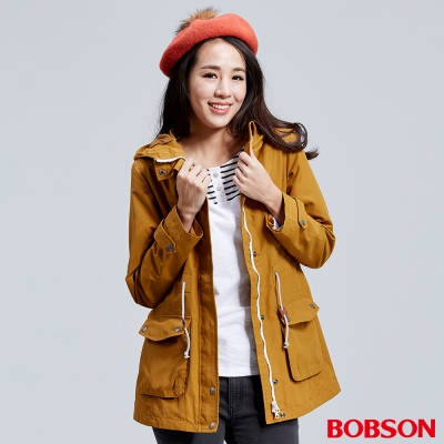 BOBSON-女款連帽雙層風衣外套-黃色