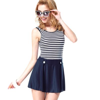 沙兒斯 橫紋背心短裙連身式泳裝