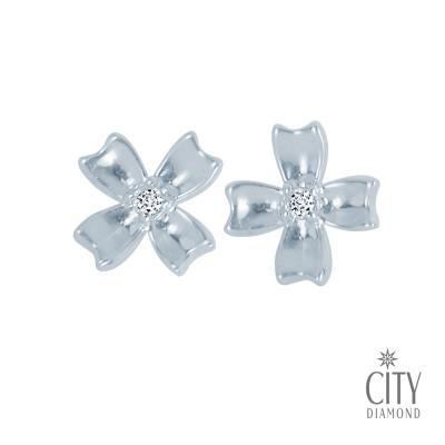City Diamond引雅【東京Yuki系列】幸運草鑽石耳環(白K)