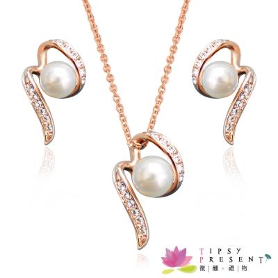 微醺禮物-人造珍珠-水鑽-珍愛宣言-耳環-項鍊-套