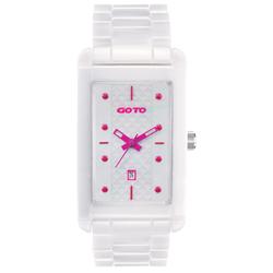 GOTO Unique 陶瓷時尚腕錶-白x桃/27.5mm