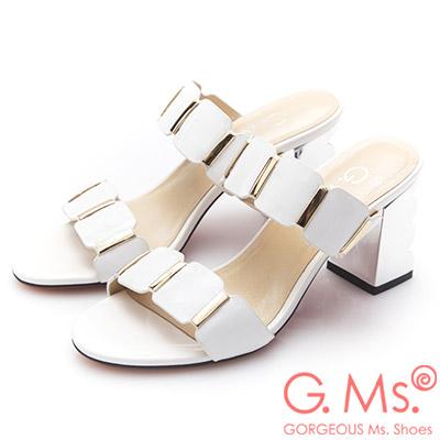 G.Ms.漆皮金色飾釦波浪高跟涼拖鞋-白色
