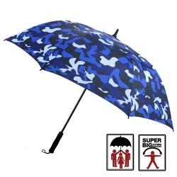 2mm 都市叢林 迷彩高爾夫揹帶防風直傘 (寶藍)