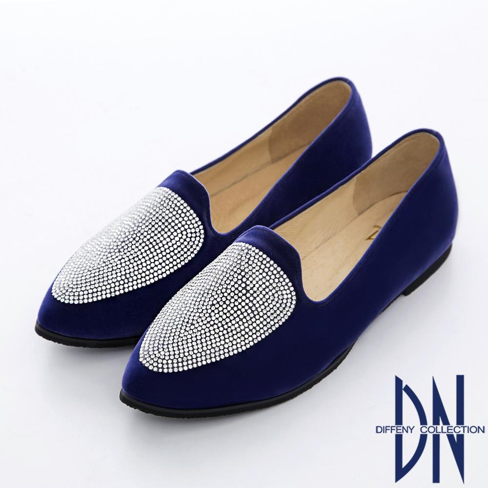 DN 玩美韓流 MIT耀眼水鑽尖頭樂福鞋 藍
