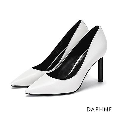 達芙妮DAPHNE 高跟鞋-素色鉚釘牛紋尖頭高跟鞋-米白