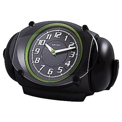 SEIKO精工 滑動式秒針大聲公鬧鐘(黑/綠)