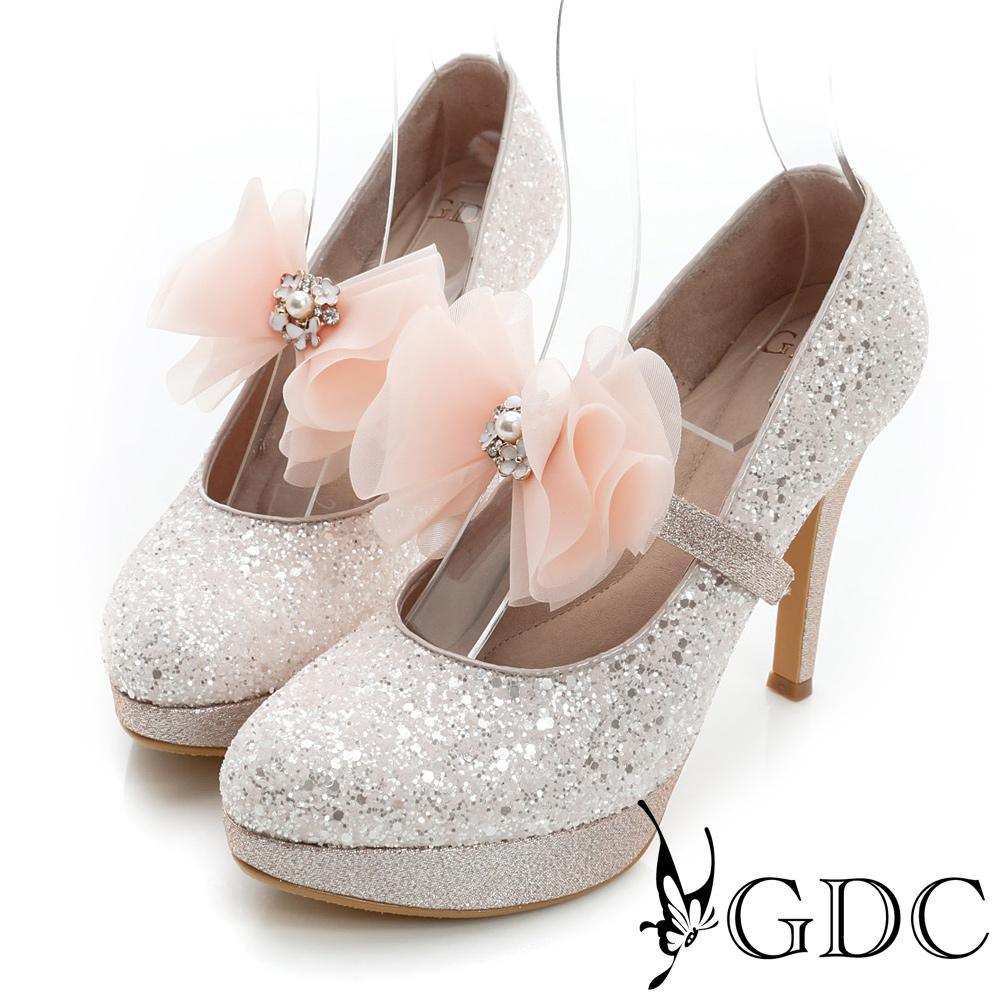 GDC幸福-繫帶蝴蝶結亮片真皮高跟鞋(婚鞋)-粉色