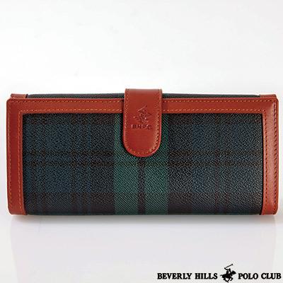 B.H. POLO -經典綠格紋 釦式內拉鍊袋長夾