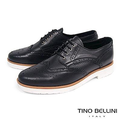 Tino Bellini 義大利進口中性白底綁帶牛津鞋_ 黑