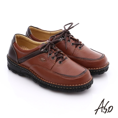 A.S.O 抗震雙核心 真皮拼接網布綁帶奈米休閒鞋 茶色
