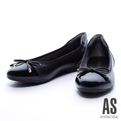 娃娃鞋-AS-異材質拼接蝴蝶結縮口平底娃娃鞋-黑