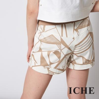 ICHE 衣哲 幾何印花簡約時尚百搭反摺造型短褲