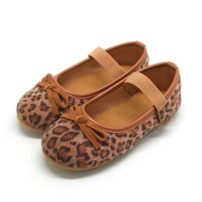 天使童鞋-D377 秋冬絕美豹紋親子鞋(中童)-咖啡紋