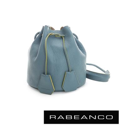 RABEANCO-真皮荔枝紋經典束口水桶包-天藍