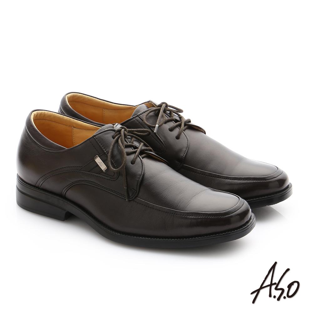 A.S.O 頂級氣墊挺霸系列 羊皮綁帶奈米紳士皮鞋 咖啡色